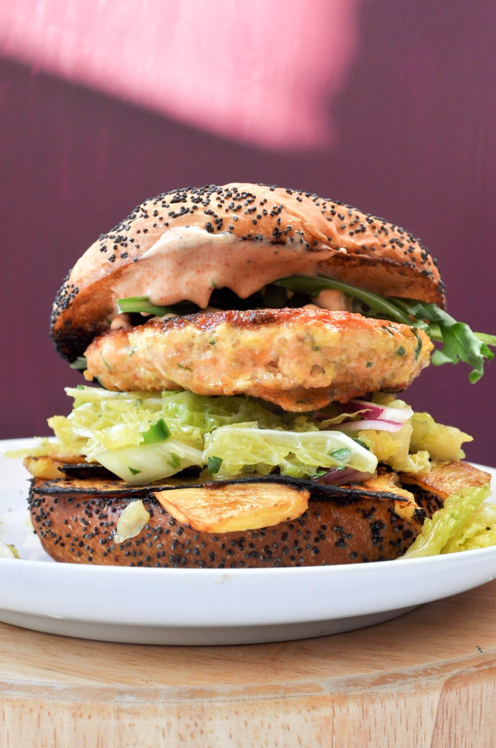 Salmon burgers with grilled pineapple, savoy jalapeño slaw and a smokey sweet aioli | POP KITCHEN
