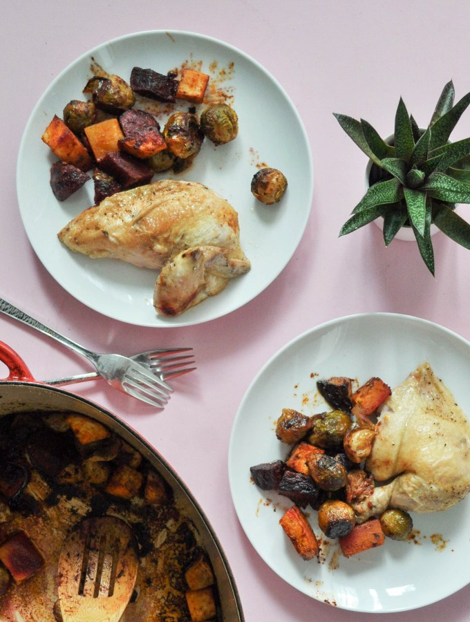 Roasted Chicken + Paprika Root Vegetables -20 mins to prep!