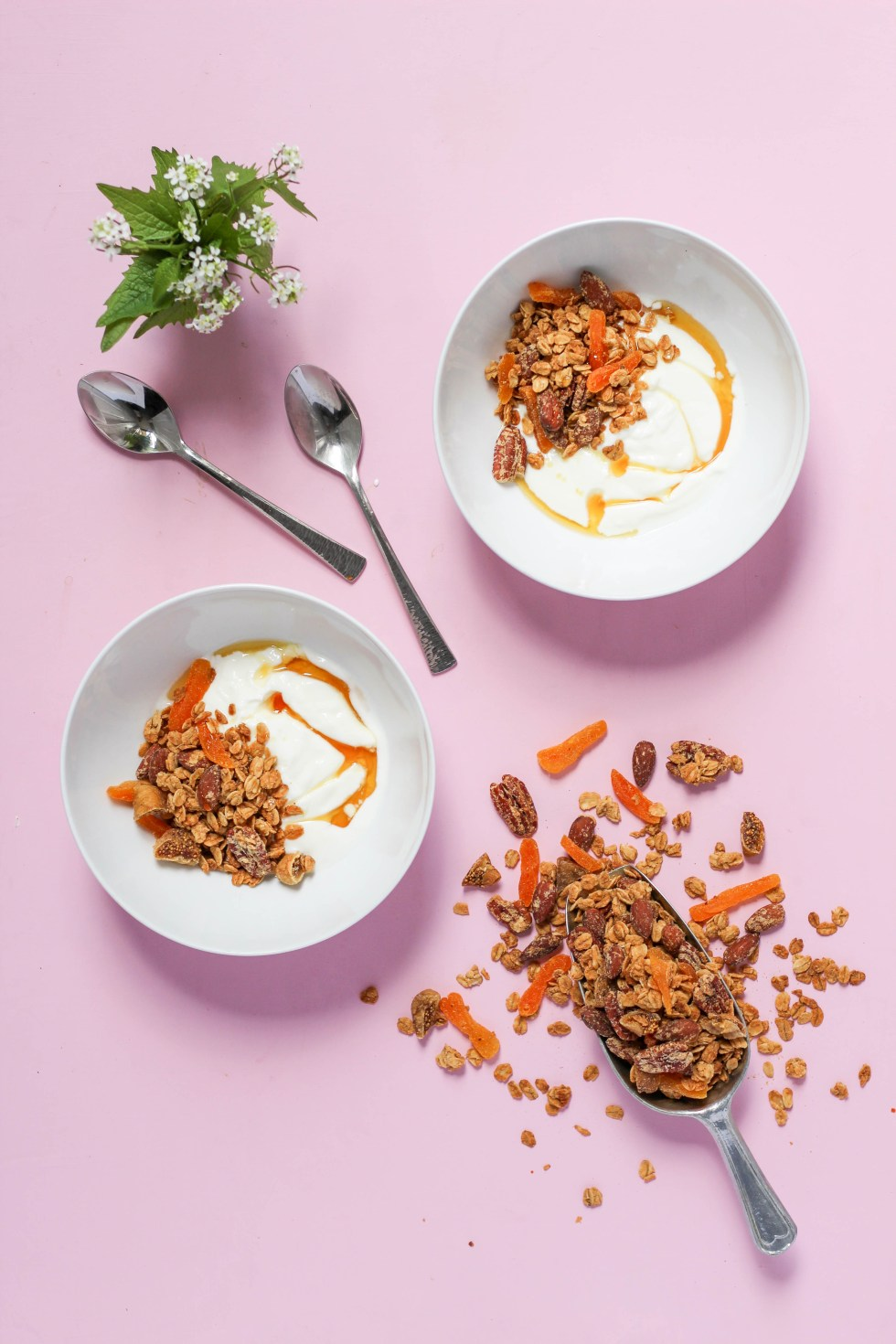 Crunchy salted peanut butter granola with almonds, pecans, and dried fruit is so addictive, you won't be able to stop // POP KITCHEN