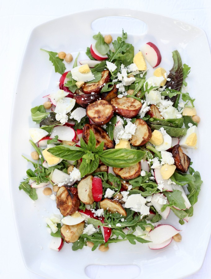 Grilled potato chickpea salad with radishes, goat cheese and a basil walnut green goddess dressing // POP KITCHEN