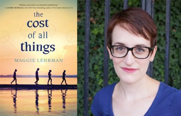 A autora Maggie Lehrman e a capa do livro em inglês