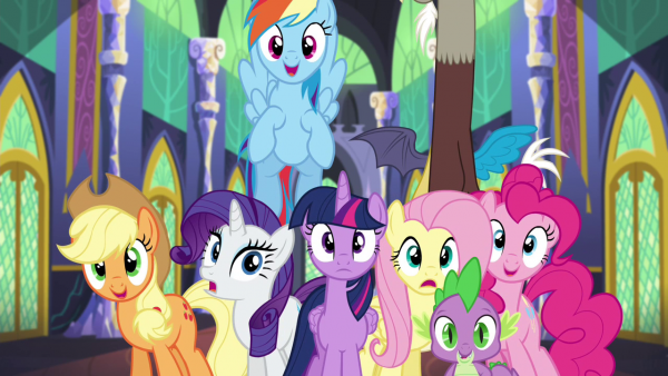 The Mane 6 as they exist in pony form in Equestria. (Hasbro / Shout! Factory)