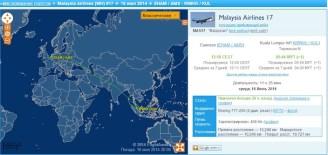 La rotta del volo Malaysian Airlines Amsterdam-Kuala Lumpur del 16 luglio. Dopo essere entrato nei cieli ucraini punta verso sud, per sorvolare la Crimea.