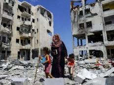 Un quartiere di Gaza City pesantemente colpito dai bombardamenti.