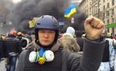 Lyashko durante la rivolta di Maidan, a Kiev.