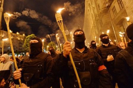 La manifestazione che Patrioti ucraini ha organizzato lo scorso 29 aprile a Kiev.