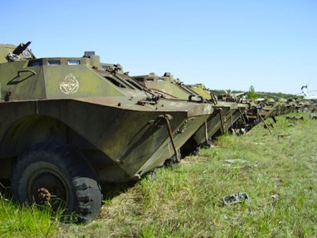 """Secondo l'agenzia """"Kharkov"""" l'esercito ucraino utilizzerebbe parti dei blindati abbandonati a Rossokha."""