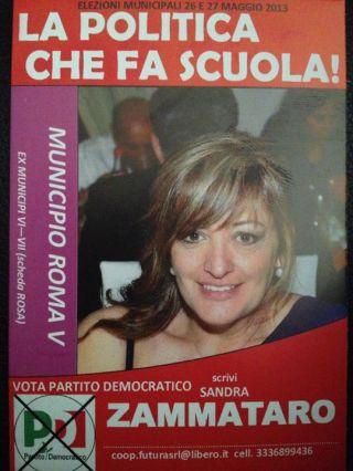 Il manifesto elettorale di Sandra Zammataro, candidata per il Partito democratico nel 2013 al Quinto Municipio.