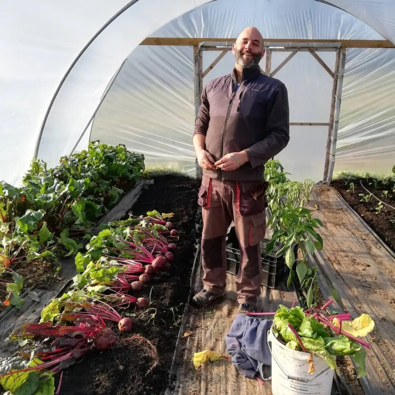 Gareth in Polytunnel Poppa Doms Farm Shop