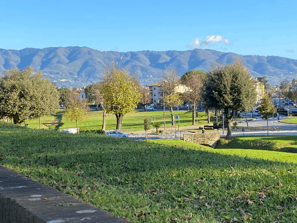 The Apuane Alpi - mountains in view from the wall surrounding Lucca