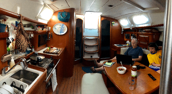 View of the galley and salon of the 2006 Beneteau 393