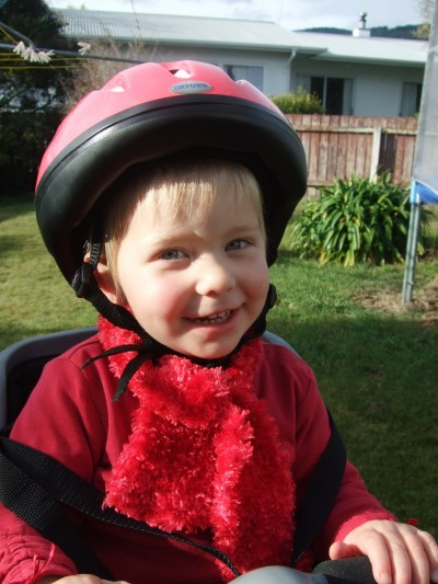 Poppy in her new bike seat