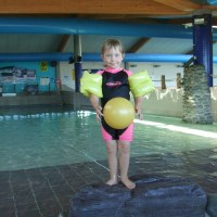 Playing in the wave pool