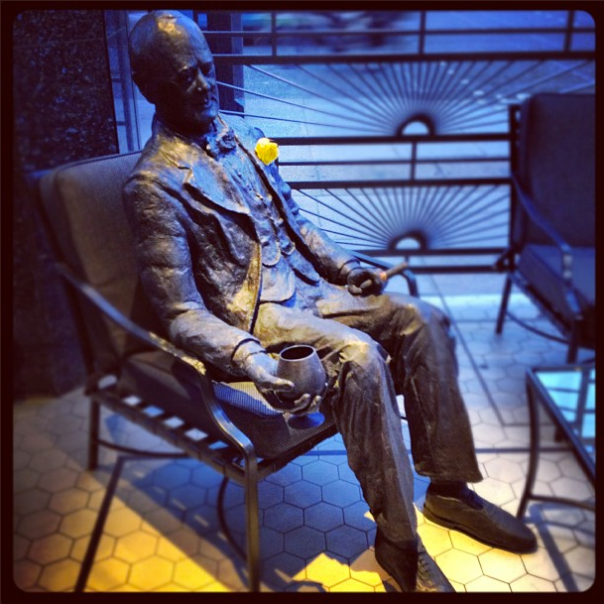 Sir Winston Churchill also sits on the terrace, bronze statue 'In Conversation' by renowned sculptor, Lawrence Holofcener