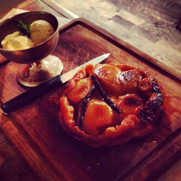 Pear tarte tartin with vanilla ice cream