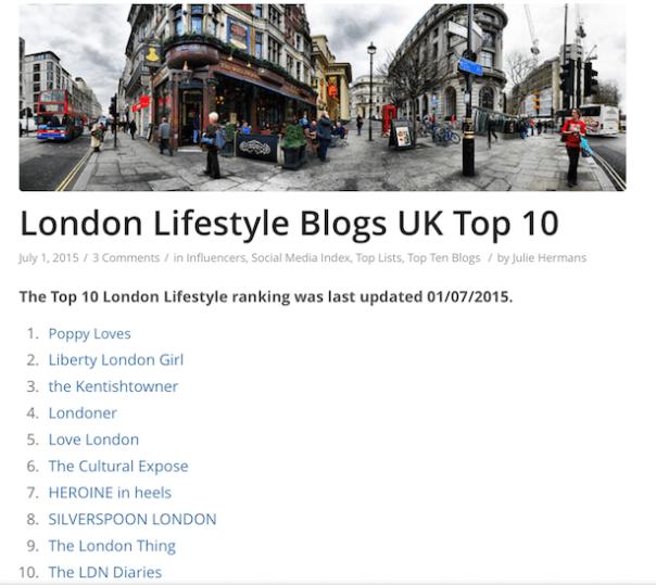 Cision top 10 London Lifestyle Blogs