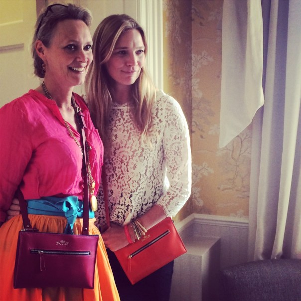 Jodie Kidd with Sarah Elton at the launch of her collaboration with Debrett's