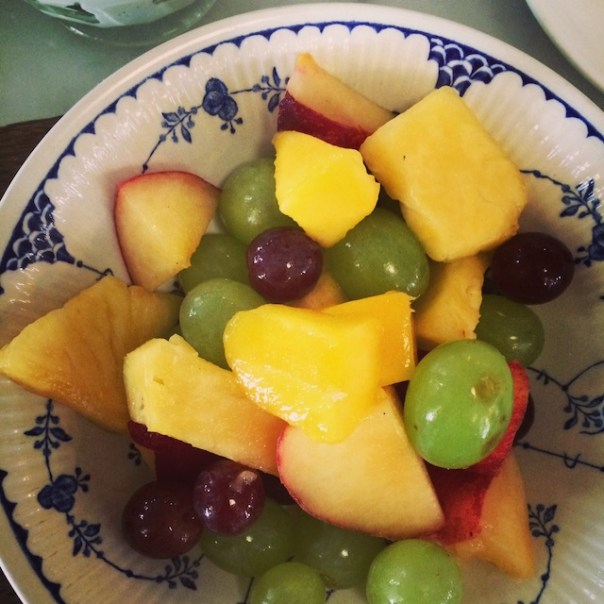 Fruit and yoghurt for brekky at Pizza East