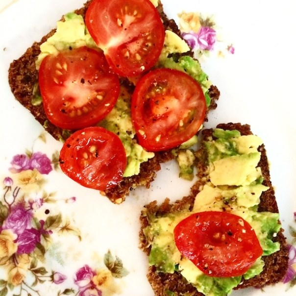 Avocado and tomato on rye toast