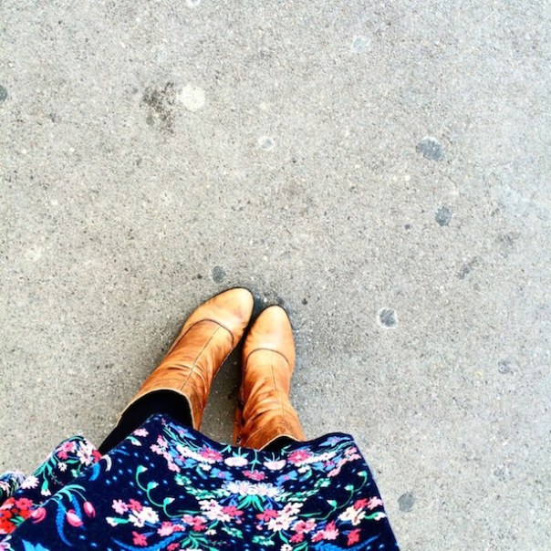 Aldo boots, John Lewis tights and Monsoon dress - all wrapped up for Autumn outside Farringdon station...