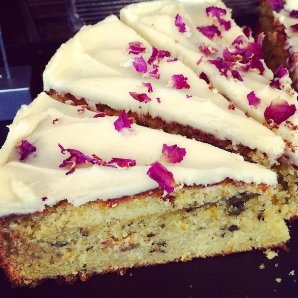 Orange and Mint cake with rose petals at The Coffee Works Project, Islington