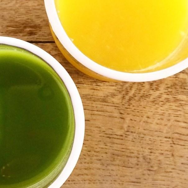 Orange juice and kale juice at Daylesford Organic Westbourne Grove