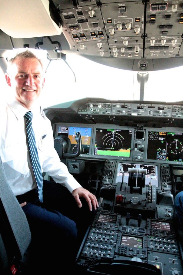 Captain and MD, John Murphy in the cockpit of the Thomson Airways 787 Dreamliner