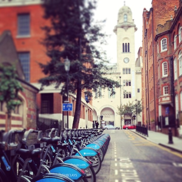 Boris Bikes outside Cadogen Hall
