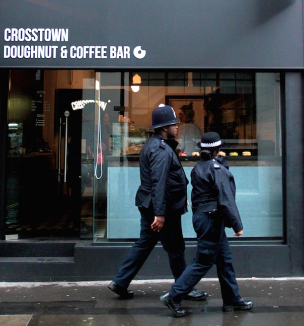 Police outside Crosstown Doughnuts in Soho