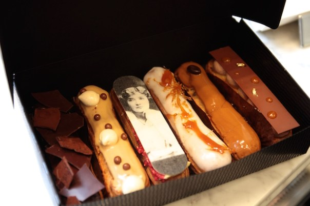 A box of six eclairs from Melba at The Savoy