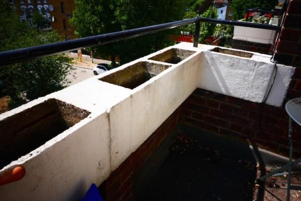 Empty balcony planters