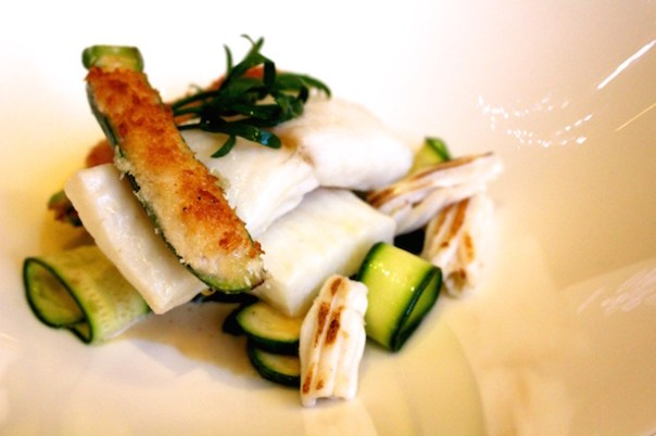 Brill fillet, young courgette, ricotta, Cornish squid, wild garlic
