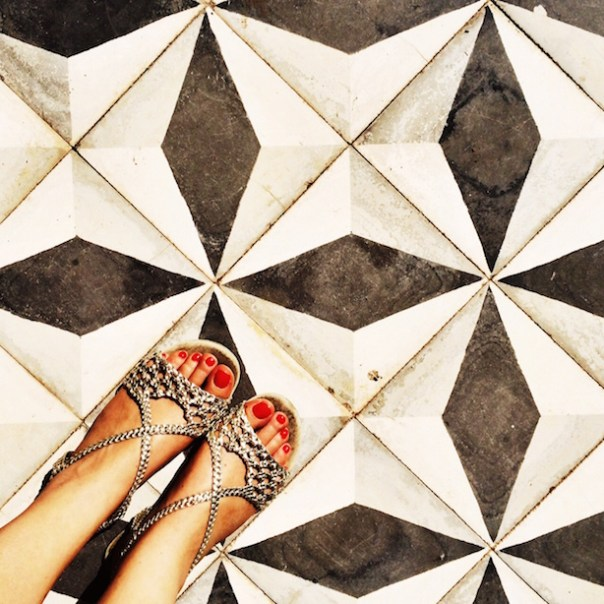 The beautiful tiled floor... Sandals: Office
