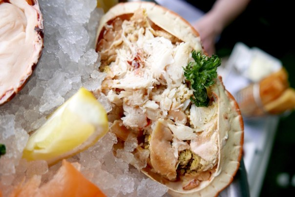 the delicious cold seafood stand with half Scottish lobster and whole Cornish dressed crab