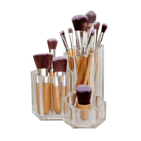 Poppy Sloane Luxury Bamboo 11 Piece Brush Set in Holder
