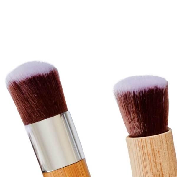 Poppy Sloane Luxury Bamboo Kabuki Trio Brush Set - close up