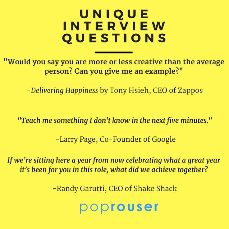 Unique interview questions