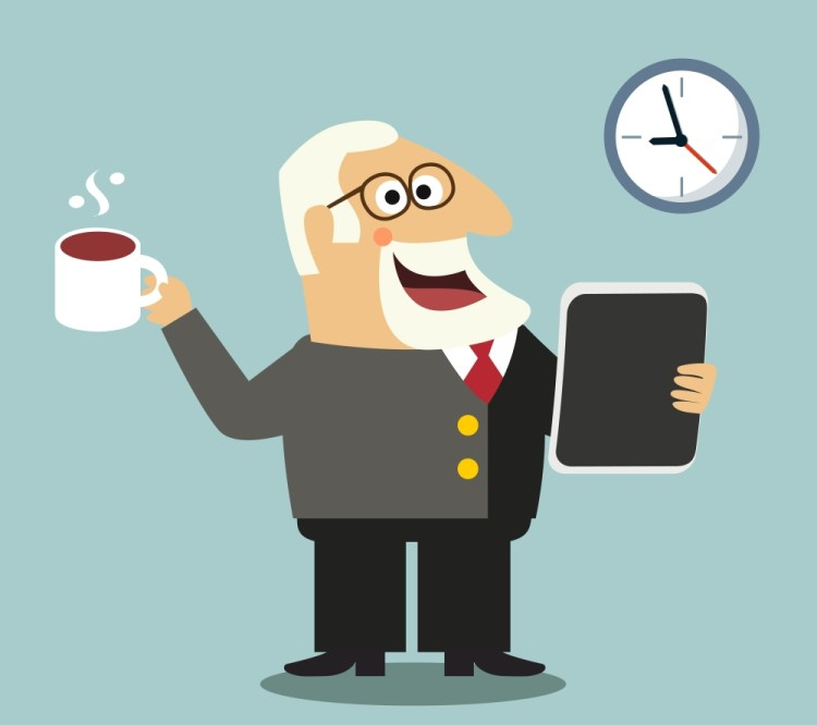 happy boss with coffee