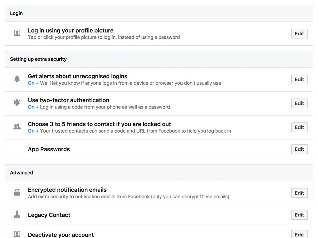 Facebook's page for account security settings