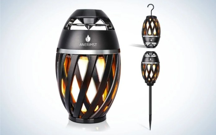 Black outdoor Bluetooth speak with pole and hook bundle