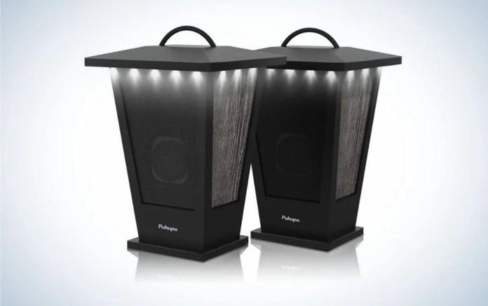 2 pack black lantern outdoor speakers