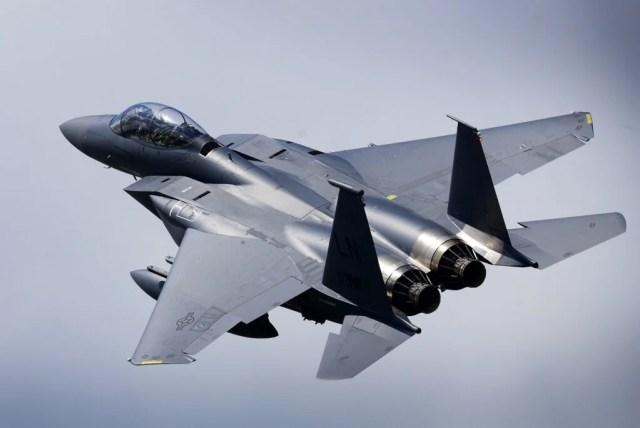 An F-15E Strike Eagle in flight.