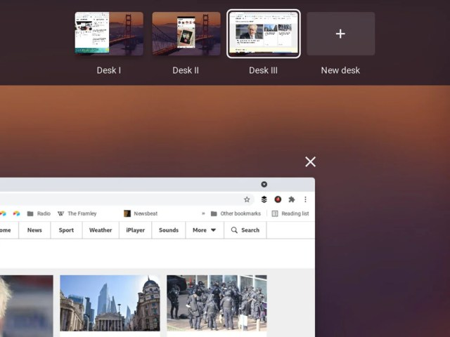 Multiple desktops on Chrome OS, known as desks.