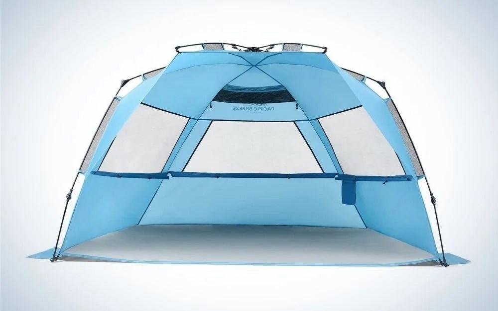 Sky blue easy setup beach tent