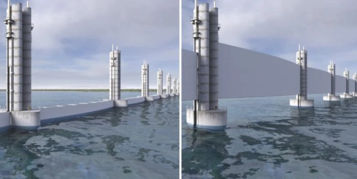 82-foot-high white gates raised during a storm surge in a drawing