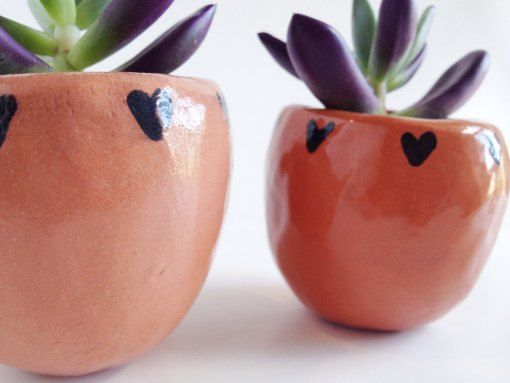 Terra Cotta Planter with Hearts 2 | Terrarium Containers