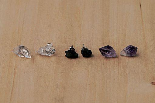 Potions Stud Earrings | Raw Gemstone Earrings | Quartz Earrings | Tourmaline Earrings | Amethyst Earrings