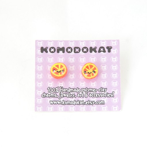 Orange Wedge Kawaii Earrings Handmade Fruit Stud Earrings