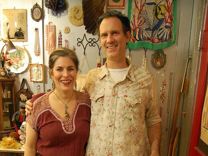 Laura and Mike Owners of The Place Upstairs Oddities Shop Antiques Houston