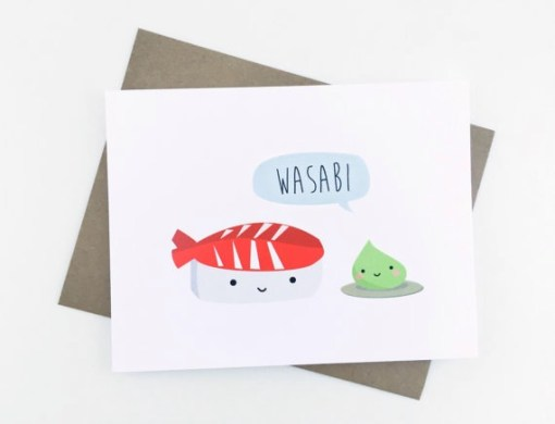 wasabi and sushi card   hand illustrated cards by Le Trango   unique cute greeting cards   kawaii style